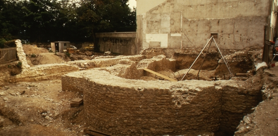 The foundations of the basilica during the excavations