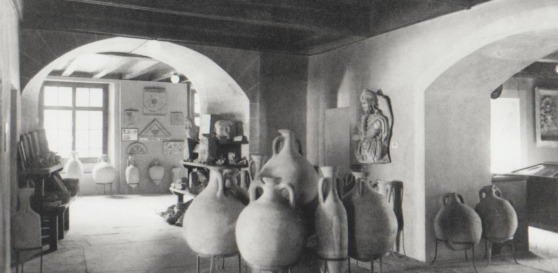 Roman collections exhibited in the Castle of Nyon before 1979. From J.-J. Müller Nyon zur Römerzeit, 1875.